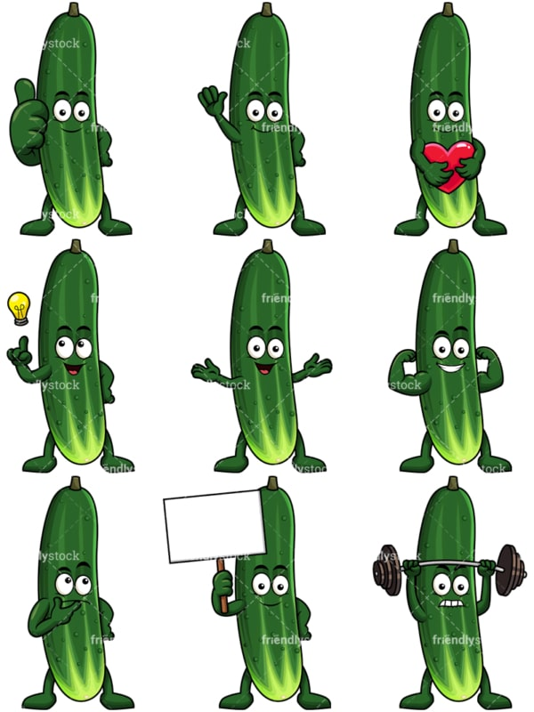 Mascot cucumber cartoon character. PNG - JPG and vector EPS file formats (infinitely scalable). Image isolated on transparent background.