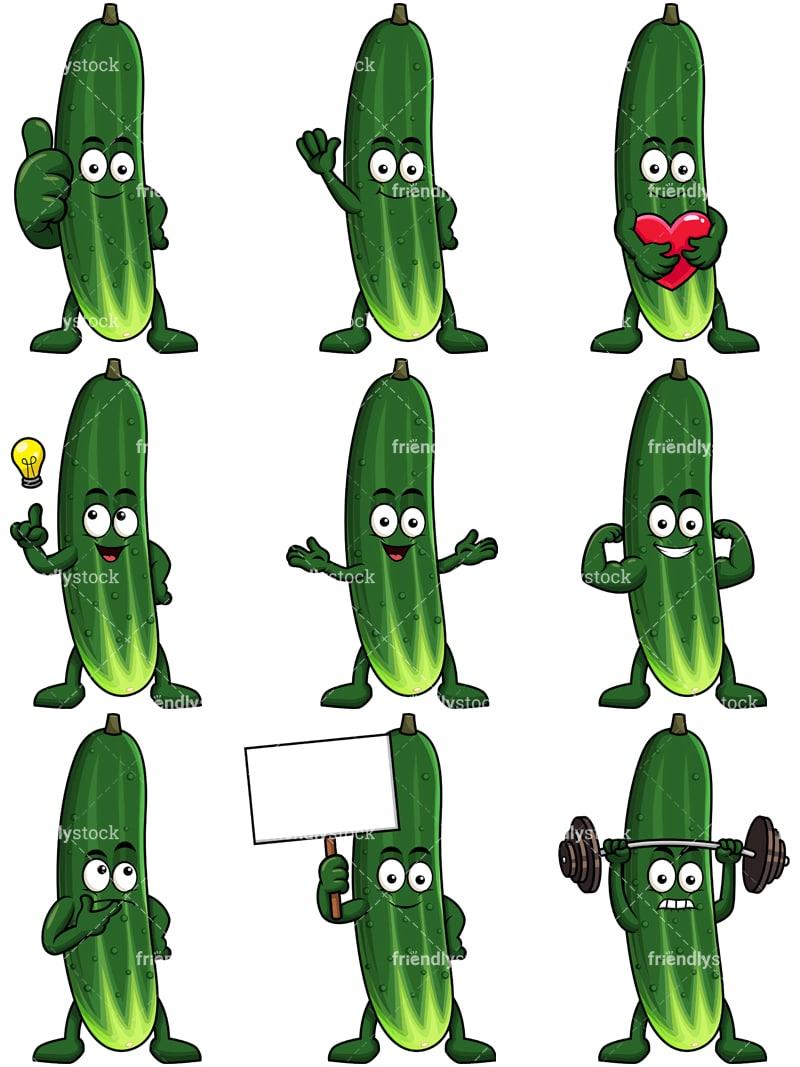 Mascot Cucumber Cartoon Character Clipart - FriendlyStock