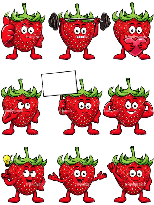 Mascot strawberry cartoon character. PNG - JPG and vector EPS file formats (infinitely scalable). Image isolated on transparent background.