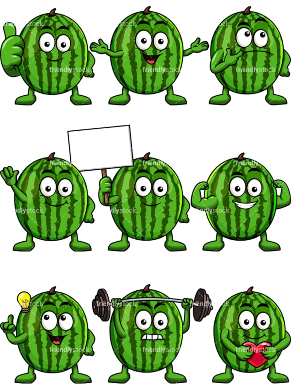 Mascot watermelon cartoon character. PNG - JPG and vector EPS file formats (infinitely scalable). Image isolated on transparent background.