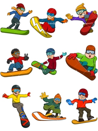 Men snowboarding. PNG - JPG and vector EPS file formats (infinitely scalable). Images isolated on transparent background.