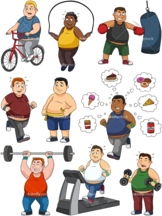 Men weight loss vector collection. PNG - JPG and vector EPS file formats (infinitely scalable).