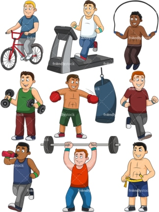 Men weight loss collection. PNG - JPG and vector EPS file formats (infinitely scalable).