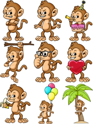 Monkey cartoon character. Collection of vector illustrations. PNG - JPG and vector EPS file formats (infinitely scalable).