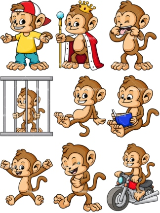 Cartoon monkey character. PNG - JPG and vector EPS file formats (infinitely scalable).
