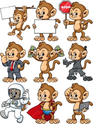 Monkey vector set. PNG - JPG and vector EPS file formats (infinitely scalable).