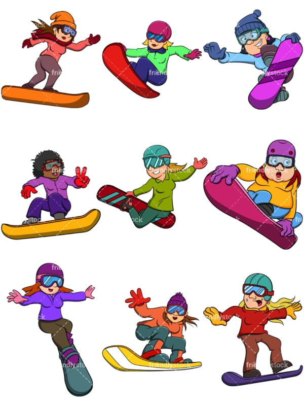 Women snowboarding. PNG - JPG and vector EPS file formats (infinitely scalable). Images isolated on transparent background.