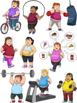 Women weight loss vector collection. PNG - JPG and vector EPS file formats (infinitely scalable).