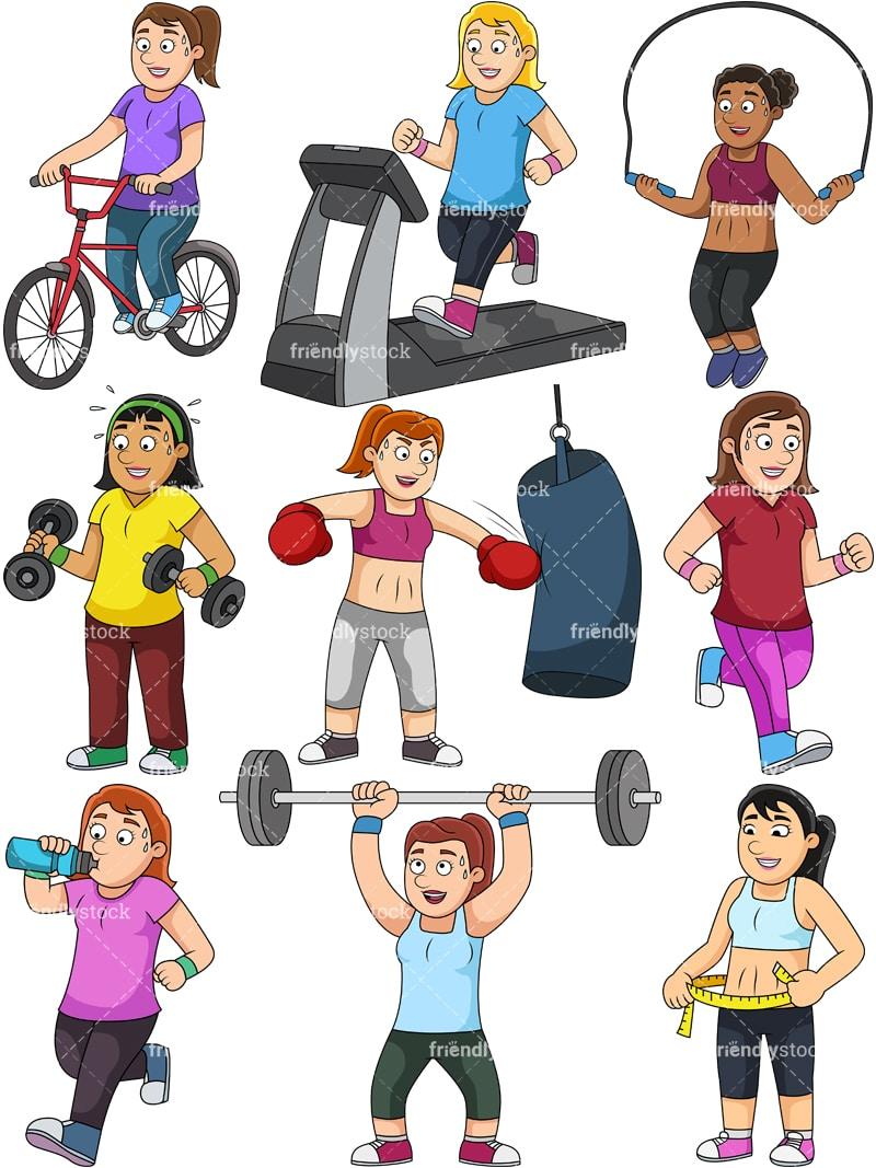 Women Weight Loss Collection Cartoon Vector Clipart ...