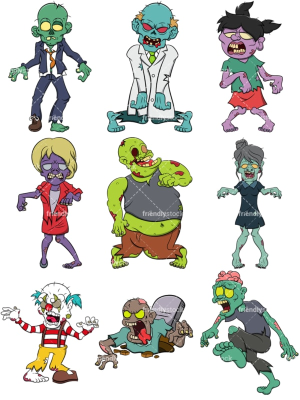 Scary zombies. PNG - JPG and vector EPS file formats (infinitely scalable). Image isolated on transparent background.