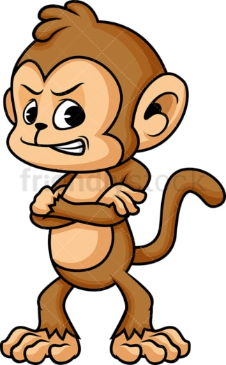 Annoyed monkey cartoon character. PNG - JPG and vector EPS (infinitely scalable).