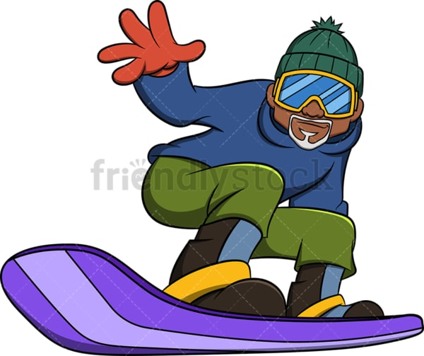 Black old man snowboarding. PNG - JPG and vector EPS file formats (infinitely scalable). Image isolated on transparent background.