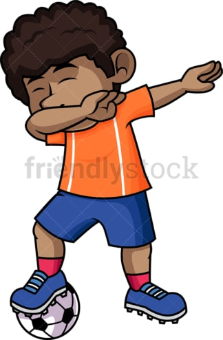 African-American soccer boy doing the dab. PNG - JPG and vector EPS file formats (infinitely scalable).