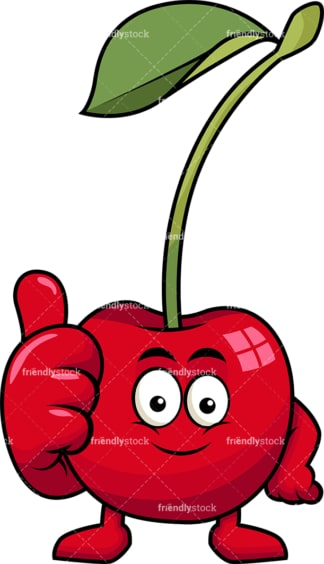 Cherry cartoon character thumbs up. PNG - JPG and vector EPS (infinitely scalable). Image isolated on transparent background.