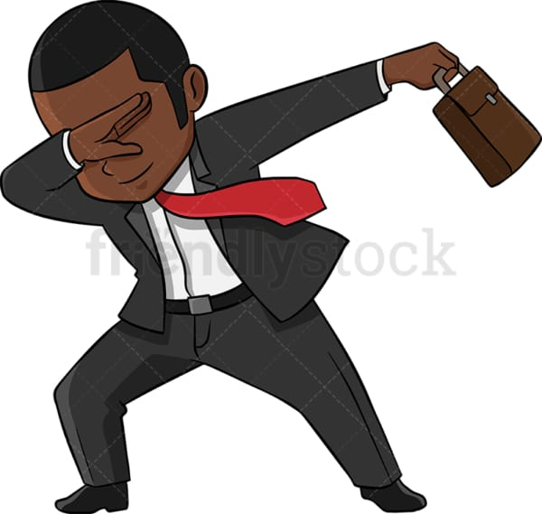 Dabbing black businessman. PNG - JPG and vector EPS (infinitely scalable). Image isolated on transparent background.