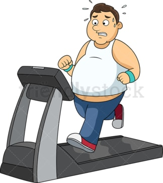Overweight man working out on treadmill. PNG - JPG and vector EPS file formats (infinitely scalable).
