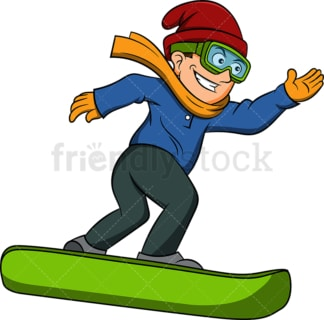 Happy man snowboarding. PNG - JPG and vector EPS file formats (infinitely scalable). Image isolated on transparent background.