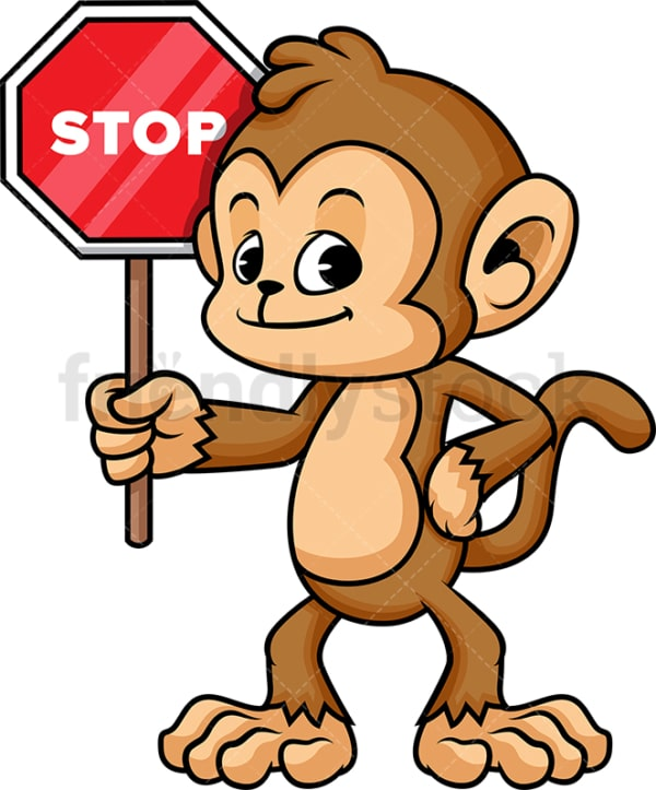 Monkey cartoon with stop sign. PNG - JPG and vector EPS (infinitely scalable).