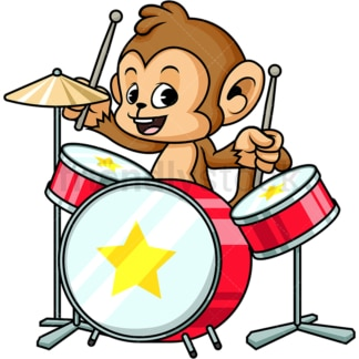 Monkey cartoon drums player. PNG - JPG and vector EPS (infinitely scalable)