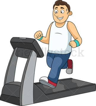Slim man working out on treadmill. PNG - JPG and vector EPS file formats (infinitely scalable).