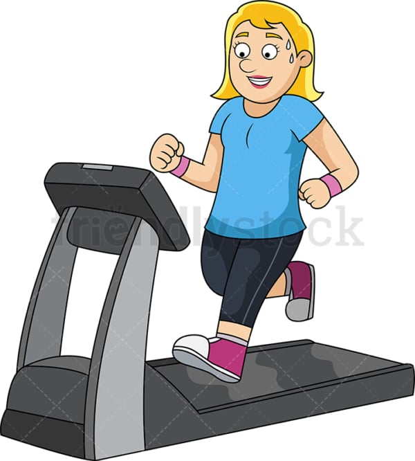 Slim woman working out on treadmill. PNG - JPG and vector EPS file formats (infinitely scalable).