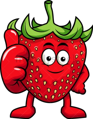 Strawberry cartoon character thumbs up. PNG - JPG and vector EPS (infinitely scalable). Image isolated on transparent background.