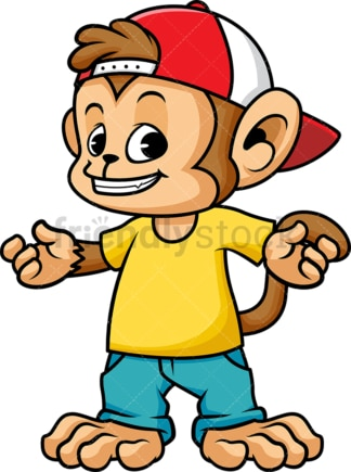 Monkey cartoon wearing cap hat. PNG - JPG and vector EPS (infinitely scalable).