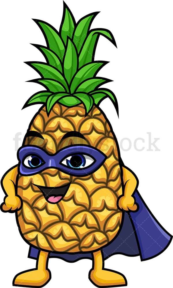 Superhero pineapple cartoon character. PNG - JPG and vector EPS (infinitely scalable).