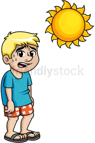Guy sweating under the boiling summer sun. PNG - JPG and vector EPS (infinitely scalable).