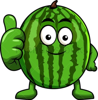 Watermelon cartoon character thumbs up. PNG - JPG and vector EPS (infinitely scalable). Image isolated on transparent background.