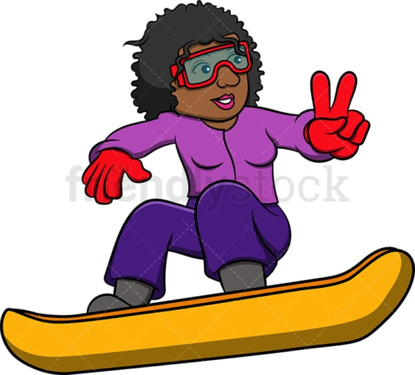 Black woman snowboarding. PNG - JPG and vector EPS file formats (infinitely scalable). Image isolated on transparent background.