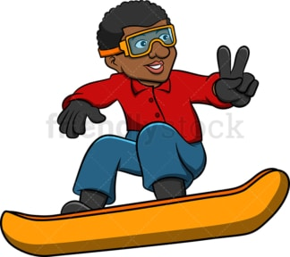 Black man snowboarding. PNG - JPG and vector EPS file formats (infinitely scalable). Image isolated on transparent background.