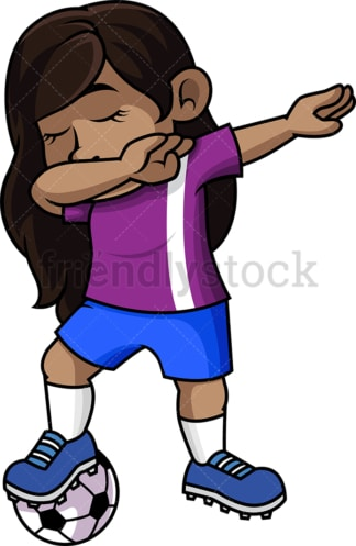 African-American soccer girl doing the dab. PNG - JPG and vector EPS file formats (infinitely scalable).