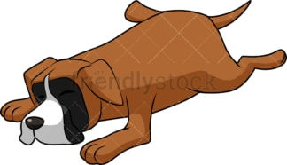 Cartoon boxer dog lying down. PNG - JPG and vector EPS (infinitely scalable). Image isolated on transparent background.