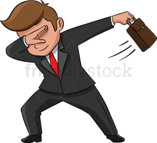 Dabbing businessman. PNG - JPG and vector EPS (infinitely scalable). Image isolated on transparent background.