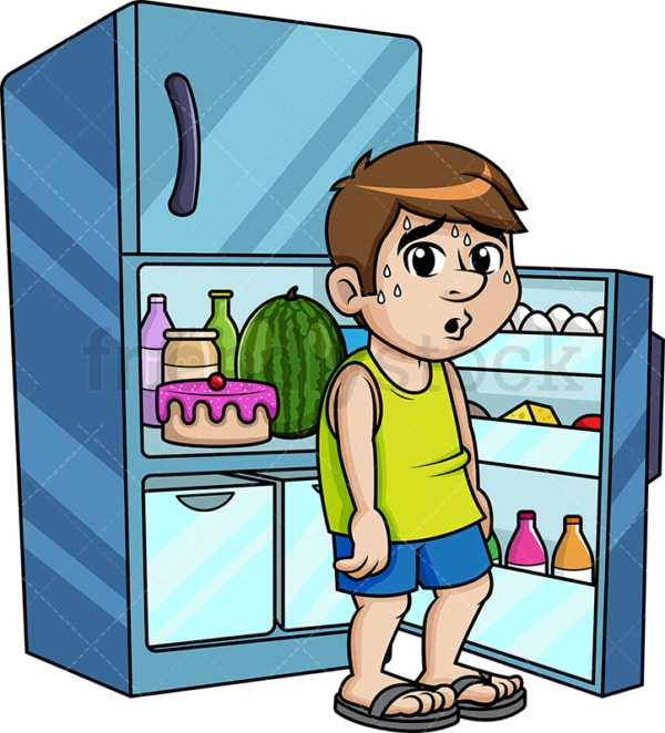 Sweating guy sitting in his freezer to cool off. PNG - JPG and vector EPS (infinitely scalable).