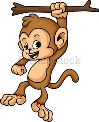 Monkey cartoon character hanging from tree branch. PNG - JPG and vector EPS (infinitely scalable).