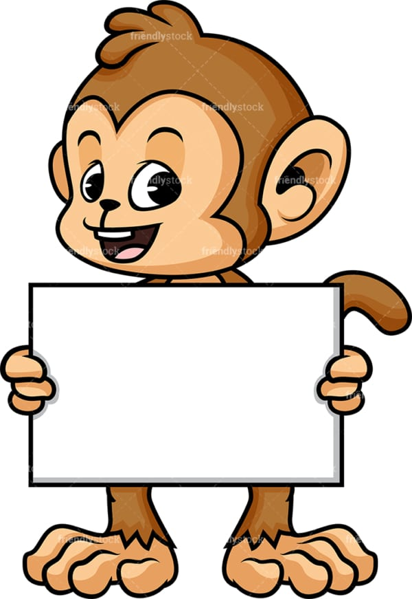 Monkey cartoon with blank billboard sign. PNG - JPG and vector EPS (infinitely scalable).