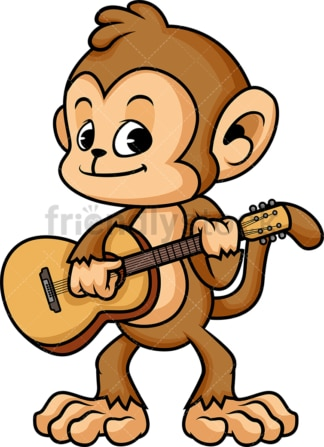 Monkey cartoon guitar player. PNG - JPG and vector EPS (infinitely scalable)