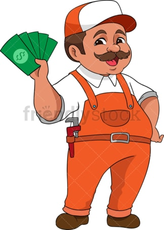 Handyman holding cash. PNG - JPG and vector EPS (infinitely scalable). Image isolated on transparent background.