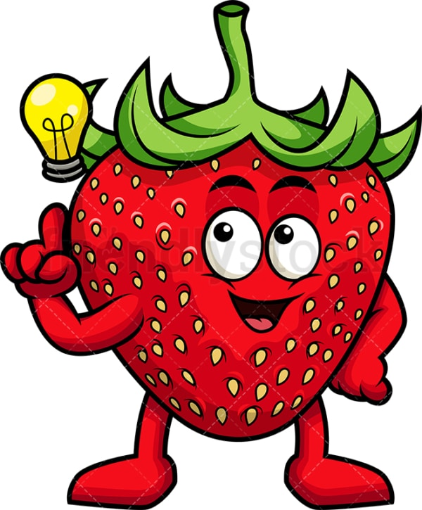 Strawberry cartoon character having an idea. PNG - JPG and vector EPS (infinitely scalable). Image isolated on transparent background.