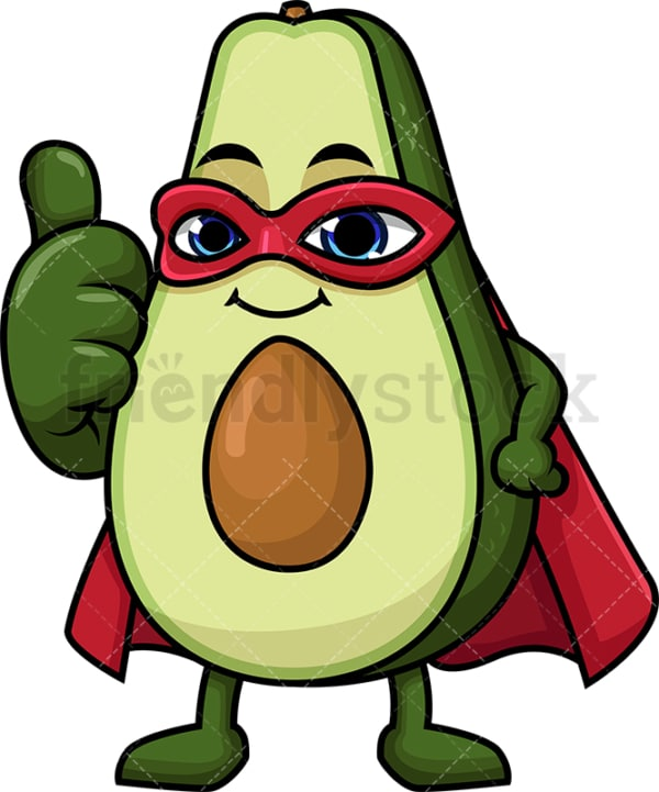 Superhero avocado cartoon character. PNG - JPG and vector EPS (infinitely scalable).