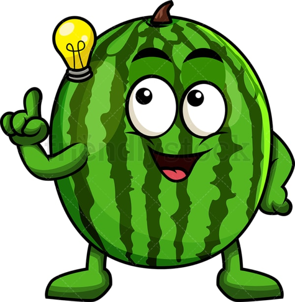 Watermelon cartoon character having an idea. PNG - JPG and vector EPS (infinitely scalable). Image isolated on transparent background.