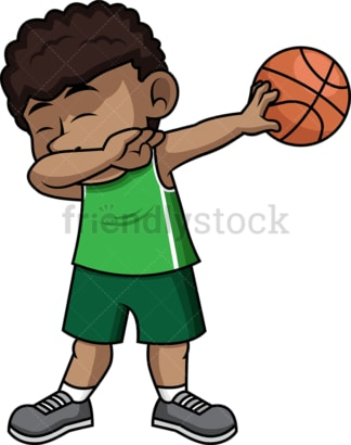 African-American basketball boy doing the dab. PNG - JPG and vector EPS file formats (infinitely scalable).