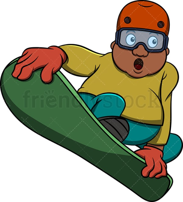 Chubby black man snowboarding. PNG - JPG and vector EPS file formats (infinitely scalable). Image isolated on transparent background.