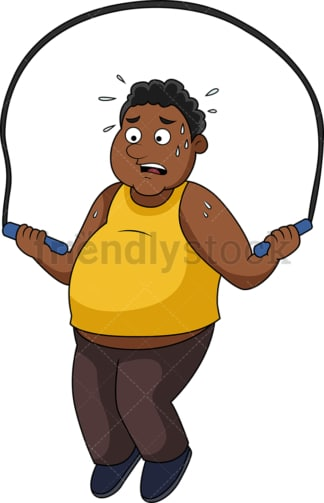 Fat African-American man working out with jump rope. PNG - JPG and vector EPS file formats (infinitely scalable).
