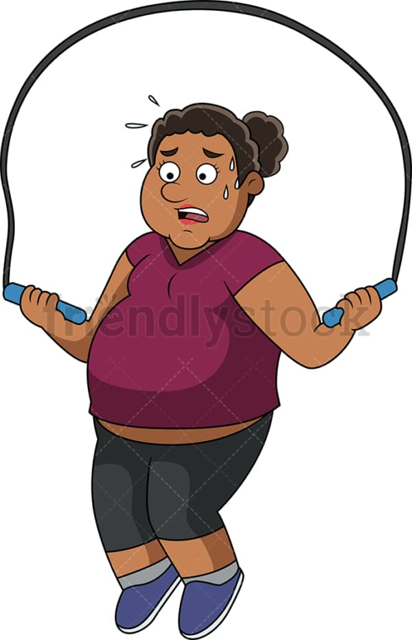 Fat African-American woman working out with jump rope. PNG - JPG and vector EPS file formats (infinitely scalable).
