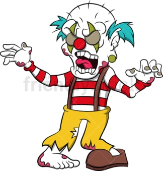 Freaky zombie clown. PNG - JPG and vector EPS (infinitely scalable). Image isolated on transparent background.