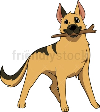 German shepherd dog playing fetch. PNG - JPG and vector EPS (infinitely scalable).
