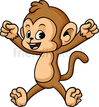 Cheerful monkey jumping for joy. PNG - JPG and vector EPS (infinitely scalable).